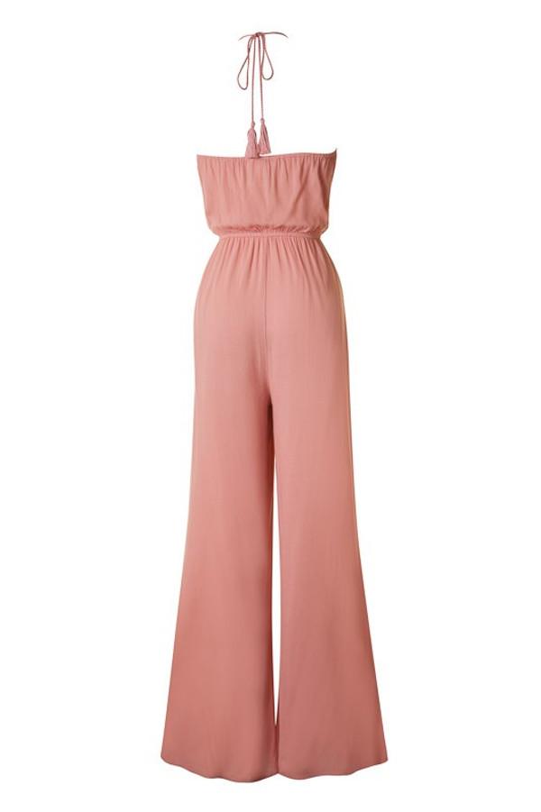 Dusty Pink Halter Top Jumpsuit