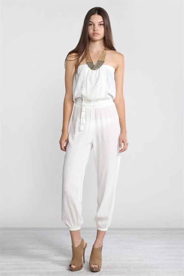 Strapless White Jumpsuit
