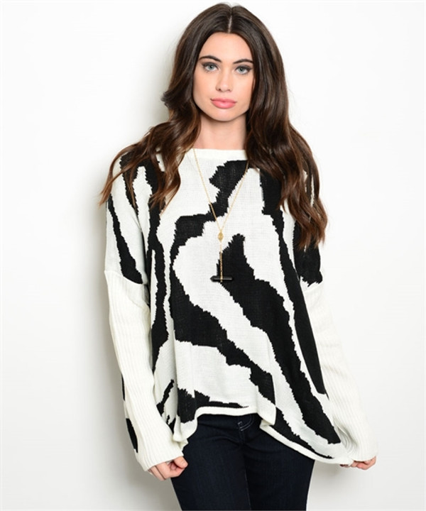 ABSTRACT WHITE & BLACK PRINT SWEATER