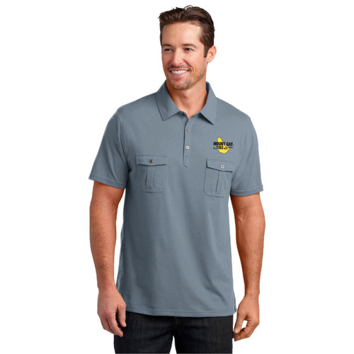 Mount Gay® Rum Double Pocket Polo by District Made® (Grey)