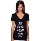 """SALE! 35th America's Cup 2017 GGYC """"Keep Calm and Foil On"""" Women's V-Neck Tee"""