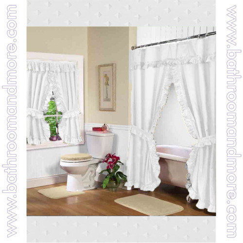 Fabric Shower Curtain Double Swag with Window Curtain