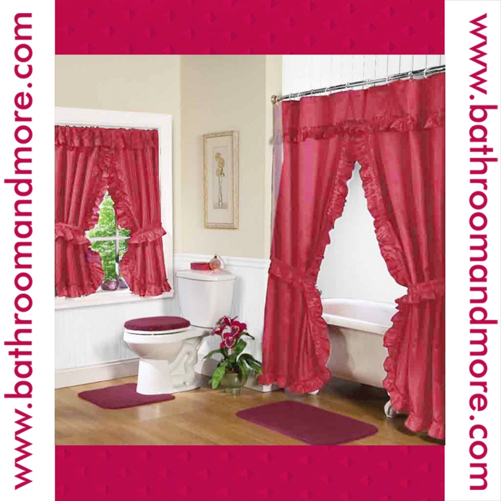 Red Fabric Double Swag Shower Curtain With Matching Window