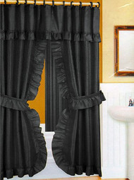 Black Fabric Ruffled Double Swag Shower Curtain Liner Set- includes flat vinyl liner and 12 curtain rings
