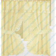 Marilyn Blonde Fabric Ruffled Double Swag Shower Curtain Liner Set- includes flat vinyl liner and 12 curtain rings
