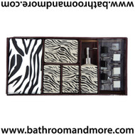 Black and White Zebra Bath Set:- Shower Curtain + Hooks + 4 Piece Ceramic Accessory Set