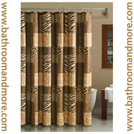 Brown Jungle Safari Animal Print Fabric Shower Curtain