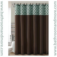 Teal and Brown Flocked Polka Dots Fabric Shower Curtain