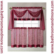 Burgundy Embroidered Kitchen Window Curtain Set- 1 Valance with Voile Scarf, 2 Tiers