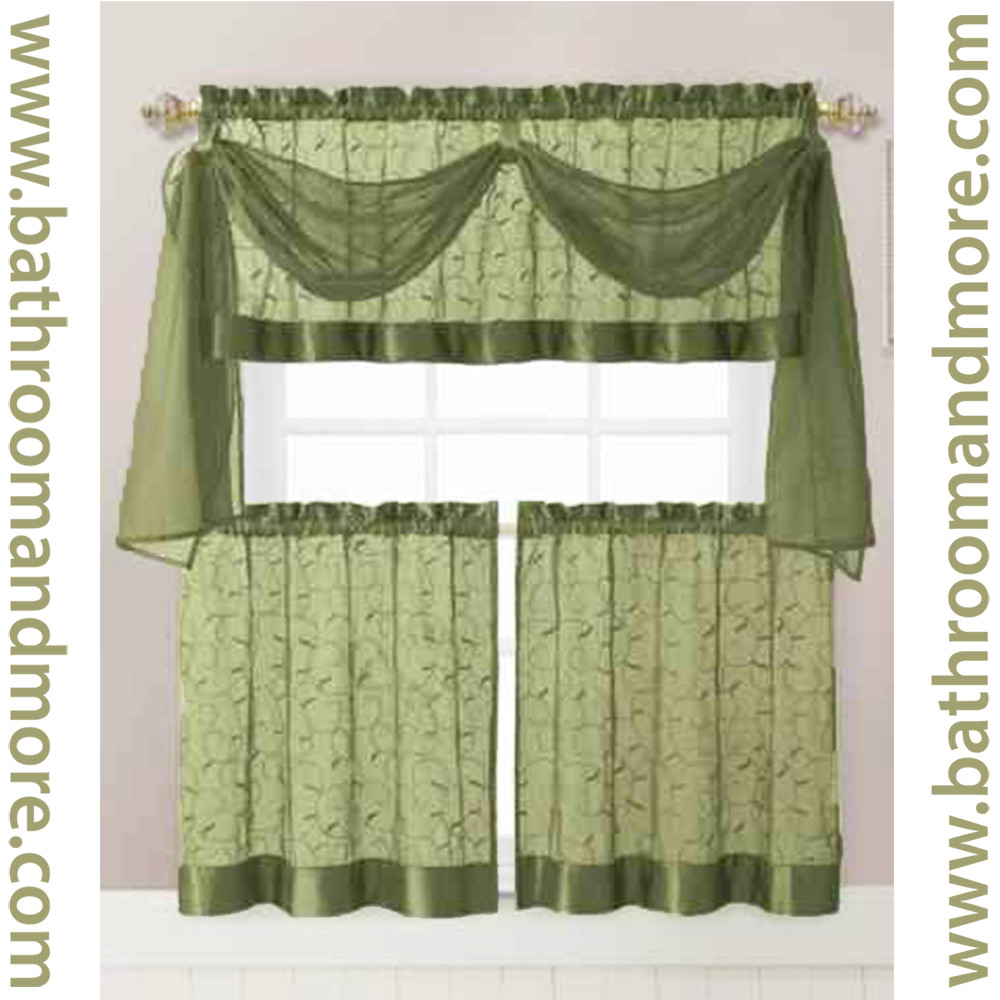 Sage Green Embroidered Kitchen Window Curtain Set- 1 Valance with ...