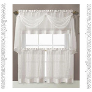 Pure White Embroidered Kitchen Window Curtain Set- 1 Valance with Voile Scarf, 2 Tiers