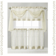 Beige Embroidered Kitchen Window Curtain Set- 1 Valance with Voile Scarf, 2 Tiers