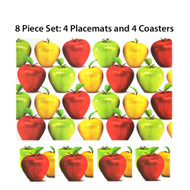 Apples Photo 8 Pc. Plastic Placemat (4) and Coaster (4) Set. Great for Indoor or Outdoor Use