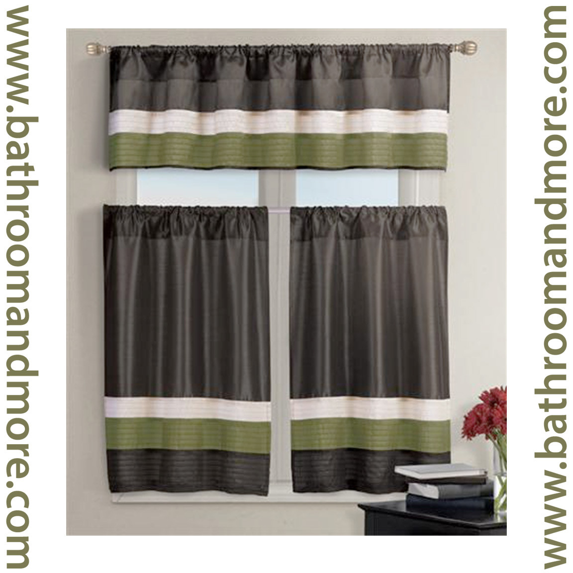 Chocolate Brown With Olive Green Kitchen Window Curtain Set 1 Valance 2 Tiers Bathroom And More
