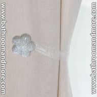 White Flower 2 Pc Crystal Magnetic Window Curtain Drapery Tie Back Clips - Hardware/Mount Free