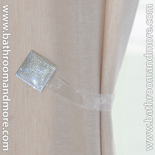 White square magnetic curtain tie-backs