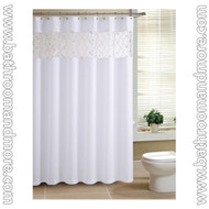 "White Fabric Shower Curtain with Sheer Window Sequin Crossed Veil Window 72"" X 72"" with Metal Grommets"