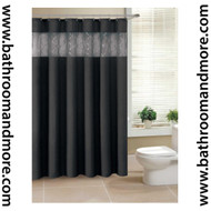 "Black Fabric Shower Curtain with Sheer Winodw Sequin Crossed Veil Window 72"" X 72"" with Metal Grommets"