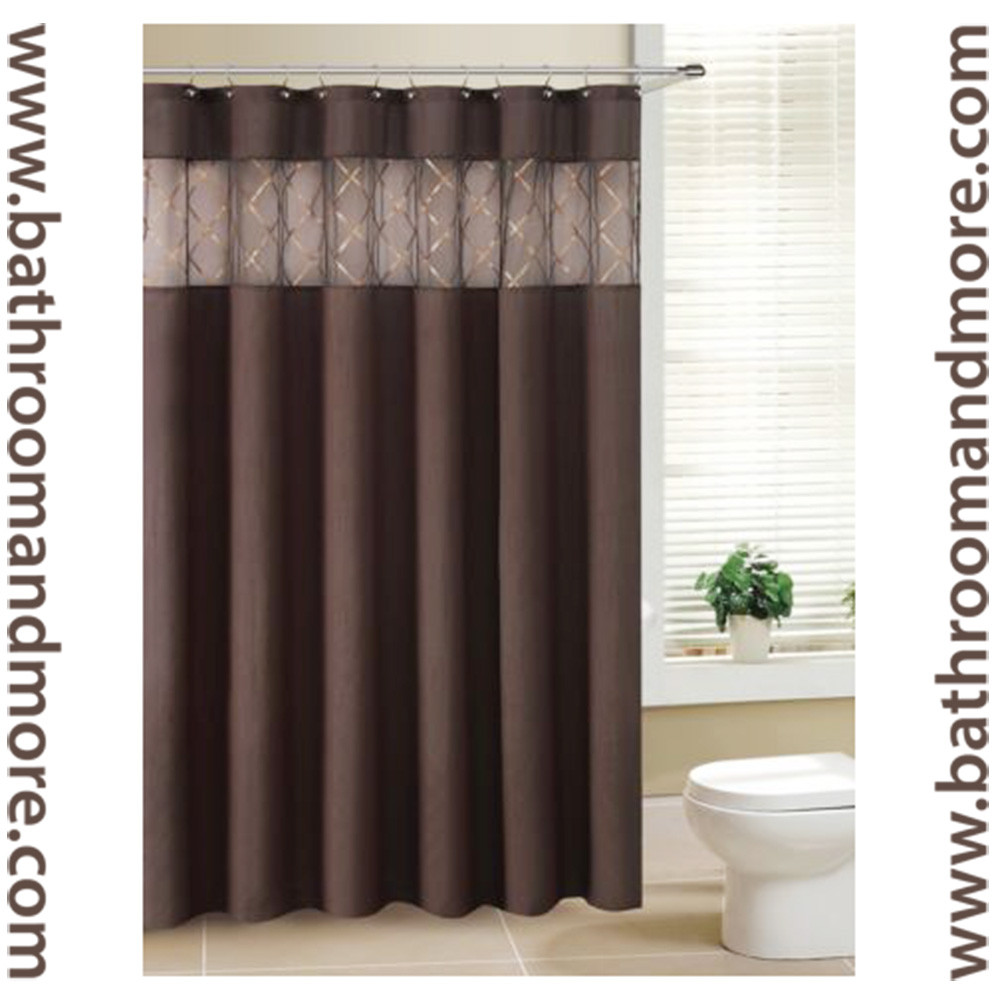 Navy Blue Curtains Sheer Brown Fabric Shower Curtain