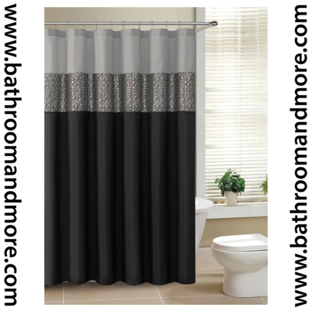 Black And White Fabric Shower Curtain Black and gray fabric shower