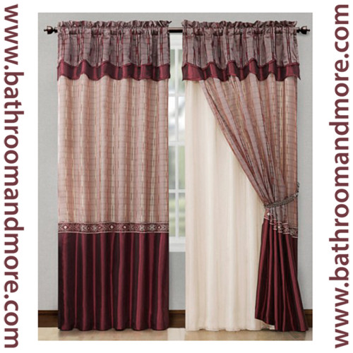 Burgundy Red Window Curtain Drapery Set Double Layer Panel
