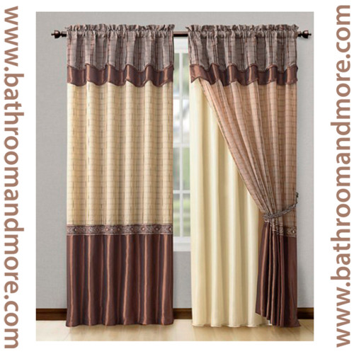 Double Panel Window Curtains : Cinnamon window curtain drapery set double layer panel w