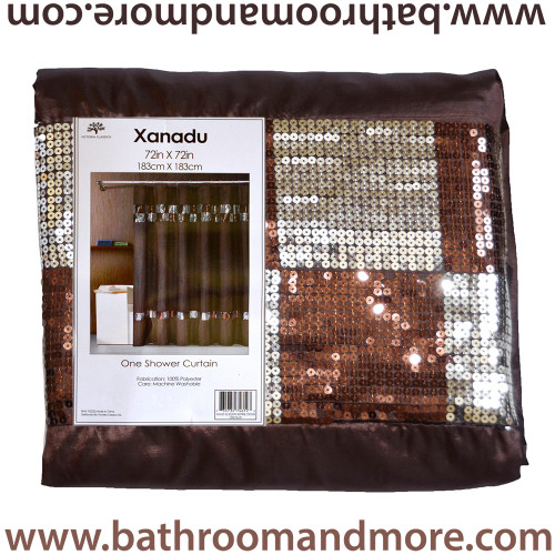 Xanadu Brown Fabric Shower Curtain with Sequin Check Detailing ...
