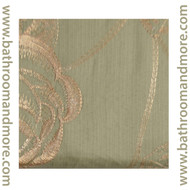 One Piece Sage Green Drapery Window Curtain Panel with Gold Floral Embroidery and Attached Valance