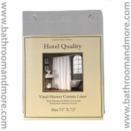 Silver gray 8 gauge hotel quality vinyl shower curtain liner.