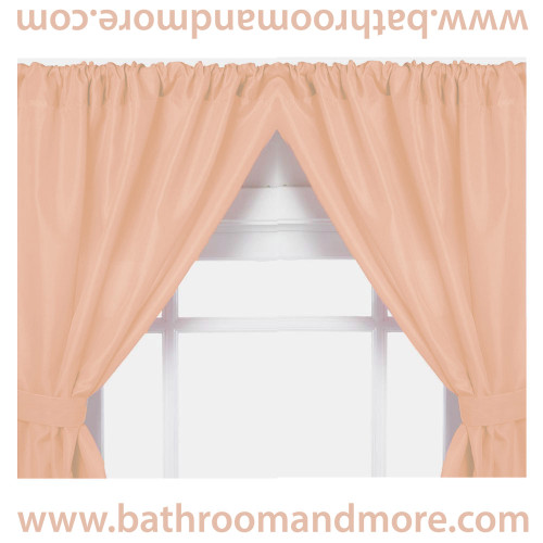 Peach vinyl double swag two panel window curtain.