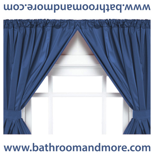 Great Navy Blue Vinyl Double Swag Two Panel Window Curtain.