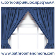 Navy blue vinyl double swag two panel window curtain.