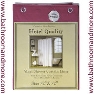 "Burgundy Hotel Weight 8 Gauge Vinyl Shower Curtain Liner 72""x72"""