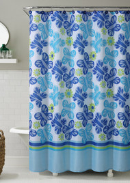 """Blue and Green Printed Fabric Shower Curtain : Butterfly and Flowers, 72"""" X 72"""""""