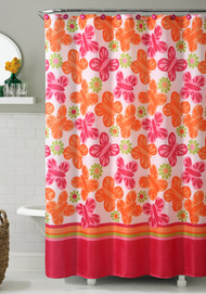 "Orange and Pink Printed Fabric Shower Curtain : Butterfly and Flowers, 72"" X 72"""