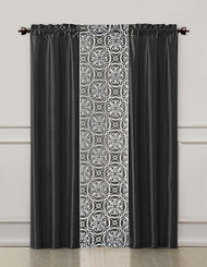 Black and Gray 3 Piece Coordinated Window Treatment Set : 2 Faux Silk Panels and 1 Printed Voile/sheer Panel