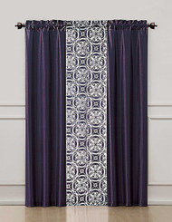 Purple 3 Piece Coordinated Window Treatment Set : 2 Faux Silk Panels and 1 Printed Voile/sheer Panel