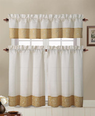 Gold and Beige Embroidered Kitchen Window Curtain Set : 2 Tier Panel Curtain, 1 Valance