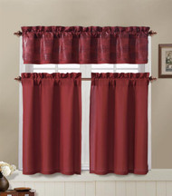 Red and Chocolate Brown Kitchen Window Curtain Set : 2 Tier Panel Curtain, 1 Alligator Print Valance
