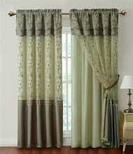 "Sage One Piece Window Curtain Drapery Sheer Panel w/ Attached Backing and Valance 57""x90"""