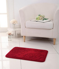 "Flower Design Memory Foam Bath Mat/area Rug : 17"" X 24"", Non-slip Backing, Soft Padded (Burgundy)"