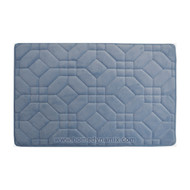 Steel Blue Memory Foam Bathroom Mat/rug: Day Spa Tiles Design Soft Absorbent Non-skid