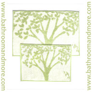 "2-piece Bathroom Mat Rug Set: Tree and Leaf Design, Non-skid Canvas Backed, 20"" X 30"" and 16"" X 22"" (Sage and Beige)"