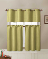 Sage Jacquard Kitchen Window Curtain Set : 2 Rod Pocket Tier Panel Curtain, 1 Valance with Metal Grommet