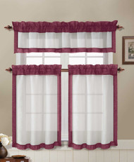 Kitchen Window Curtain Set: 2 Tier Panels & 1 Valance: Beige with Blush Border