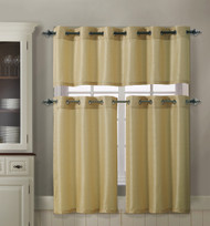Gold 3 Piece Kitchen Curtain Set : 1 Valance, 2 Tiers, Solid Colors, Metal Grommets