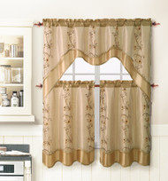 Beige 3 Piece Kitchen Window Curtain Treatment Set: 2 Layer, Embroidered Sheer Design, 2 Tiers and 1 Valance