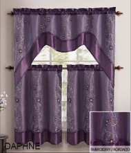 Purple 3 Piece Kitchen Window Curtain Treatment Set: 2 Layer, Embroidered Sheer Design, 2 Tiers and 1 Valance