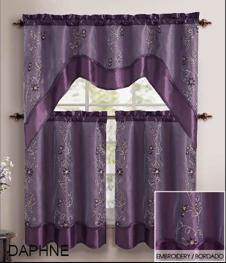 Curtains Ideas tier curtain sets : Home Design by Colors Browns Purple 3 Piece Kitchen Window Curtain ...