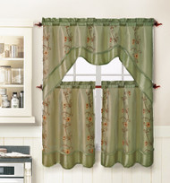Sage Green 3 Piece Kitchen Window Curtain Treatment Set: 2 Layer, Embroidered Sheer Design, 2 Tiers and 1 Valance